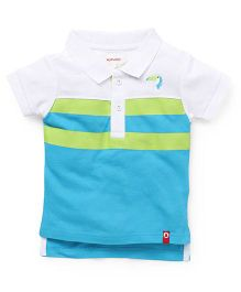 Pinehill Half Sleeves Polo Tee - Blue Green White