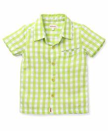 Pinehill Half Sleeves Checks Shirt - Neon Green