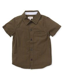 Pinehill Half Sleeves Check Shirt - Dark Olive Green