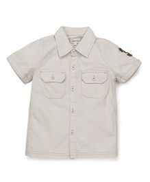 Pinehill Half Sleeves Plain Shirt - Beige