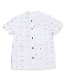 Pinehill Half Sleeves Shirt Bird Print - White