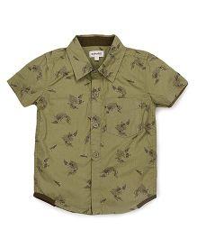 Pinehill Half Sleeves Printed Shirt - Green