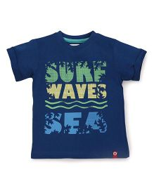 Pinehill Half Sleeves Tee Surf Wave Print - Navy