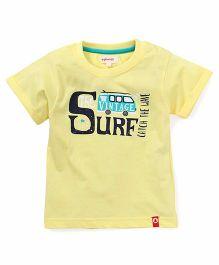 Pinehill Half Sleeves Tee Surf Print - Yellow