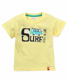 Pinehill Half Sleeves Tee Surf Print - Yellow