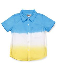 Pinehill Half Sleeves Shaded Shirt - Blue Yellow White