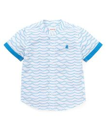 Pinehill Half Sleeves Printed Shirt - White Blue