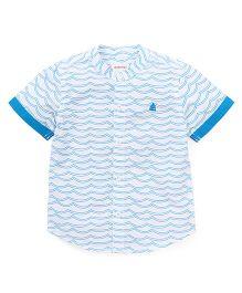 Pinehill Half Sleeves Printed Shirt - White Blue