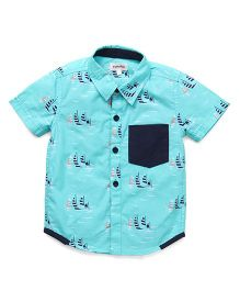 Pinehill Half Sleeves Shirt Allover Boat Print - Aqua Blue