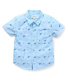 Pinehill Half Sleeves Shirt Fish Print - Sky Blue