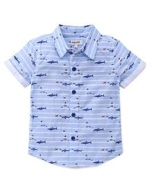 Pinehill Half Sleeves Shirt Fish Print - Blue