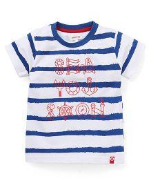 Pinehill Half Sleeves Tee Stripes Print - White Red Blue