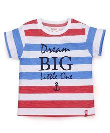 Pinehill Half Sleeves Tee Dream Big Print - White Red Blue