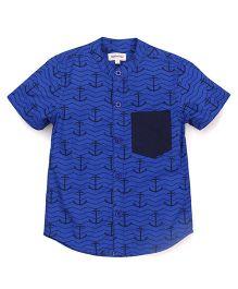 Pinehill Half Sleeves Shirt Anchor Print - Dark Blue