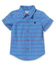 Pinehill Half Sleeves Striped Shirt - Blue
