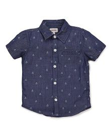 Pinehill Half Sleeves Anchor Printed Shirt - Dark Navy