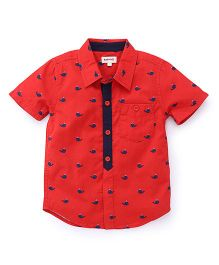 Pinehill Half Sleeves Shirt Whale Print - Red