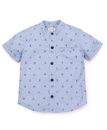 Pinehill Half Sleeves Shirt Anchor & Ship Print - Light Blue