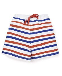 Pinehill Stripes Shorts With Drawstrings - White Blue Brown