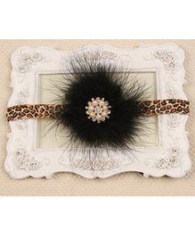Akinos Kids Leopard Printed Feather & Diamond Applique Headband - Black