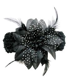 Akinos Kids Feather Lace & Flower Applique Headband - Grey & Black