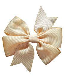 Akinos Kids Double Bow Flower Shape Applique Hair Clip - Cream