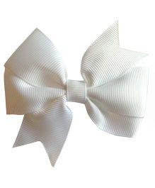 Akinos Kids Double Bow Flower Shape Applique Hair Clip - White