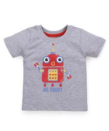 Babyhug Half Sleeves T-Shirt Robot Print - Grey