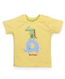 Babyhug Half Sleeves T-Shirt Best Friends Print - Yellow