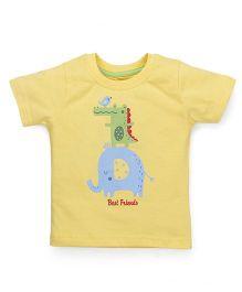 Babyhug Half Sleeves T-Shirt Best Friends Print - Yellow