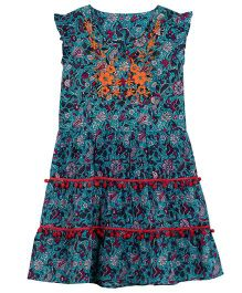 My Lil Lambs Ethnic Printed Tier Dress Withembroidery Lace - Turquoise