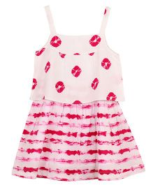 My Lil Lambs Layered Tie N Dye Strap Dress - Pink