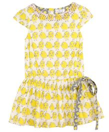 My Lil Lambs Printed Dress With Waist Belt & Embroidery - Yellow