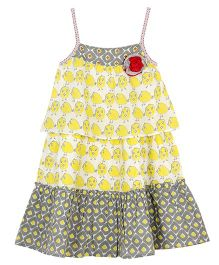 My Lil Lambs Layered Strap Dress With Attached Broach- Yellow