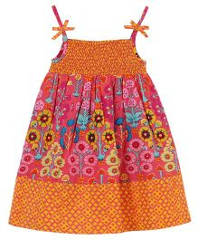 My Lil Lambs Ethnic Printed Strap Dress - Pink & Orange