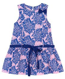 My Lil Lambs Floral Printed Drop Waist Dress With Belt - Blue