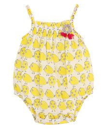 My Lil Lambs Chick Printed Onesie With Flower Applique - Yellow