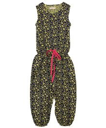 My Lil Lambs Little Flower Printed Jumpsuit With Contrast Waist Belt - Green