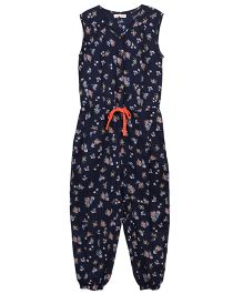 My Lil Lambs Little Flower Printed Jumpsuit With Contrast Waist Belt - Navy Blue