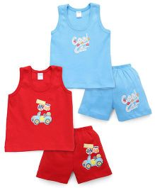 Tango Sleeveless T-Shirt And Shorts With Print - Red Blue