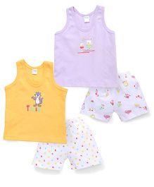 Tango Sleeveless Printed T-Shirt and Shorts Set - Yellow Purple