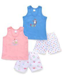 Tango Sleeveless Printed T-Shirt and Shorts Set - Pink Blue