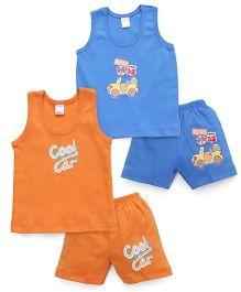 Tango Sleeveless T-Shirt And Shorts With Print - Orange Blue