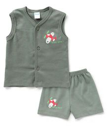 Tango Sleeveless T-Shirt And Shorts Aeroplane Print - Olive Green