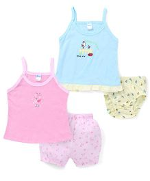 Tango Singlet Frock And Bloomer Set With Print - Blue Pink