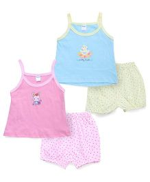 Tango Printed Singlet Frock And Bloomer Set - Pink Blue