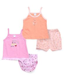 Tango Singlet Frock And Bloomer Set With Print - Dark Peach Pink
