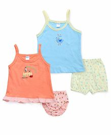 Tango Singlet Frock And Bloomer Set With Print - Blue Orange