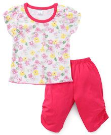 Tango Short Sleeves Floral Print Top And Bottom Set - Off White Fuchsia