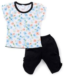 Tango Short Sleeves Floral Print Top And Bottom Set - Off White Black